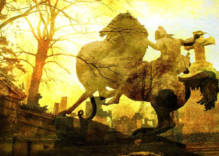 Statue Greeting Card featuring the photograph Eerie Horseman by Alice Gipson