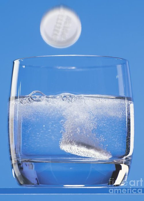 Chemical Greeting Card featuring the photograph Effervescent Tablets In Water by Martyn F. Chillmaid