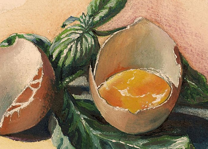 Easter Egg Greeting Card featuring the painting Egg And Basil by Alessandra Andrisani