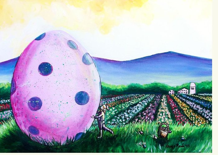 Easter Greeting Card featuring the painting Eggstatic by Shana Rowe Jackson