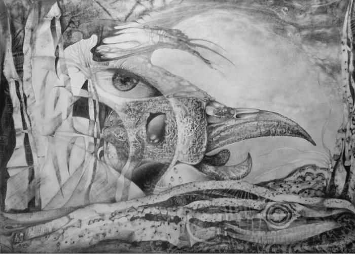 Surreal Bird Greeting Card featuring the drawing Ego-bird-fish Nesting Ground by Otto Rapp