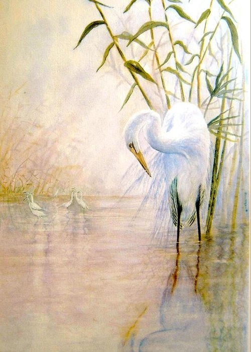 Eret; Bird; Low Country Greeting Card featuring the painting Egret by Ben Kiger