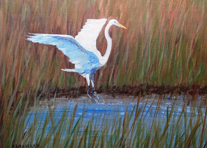 Egret Greeting Card featuring the painting Egret Landing by Keith Wilkie