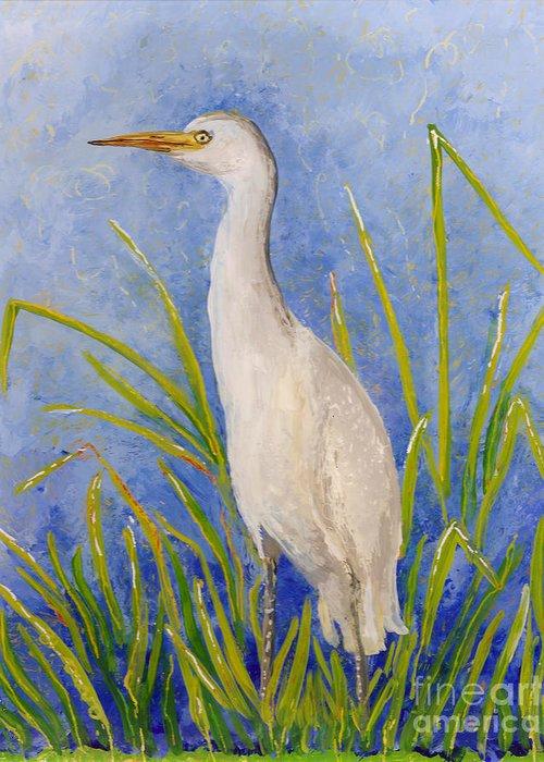 Hawaii Birds Greeting Card featuring the painting Egret Morning by Anna Skaradzinska