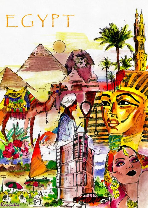 Rossidis Greeting Card featuring the painting Egypt by George Rossidis