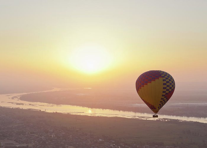 Luxor Greeting Card featuring the photograph Egypt, View Of Hot Air Balloon Over by Westend61
