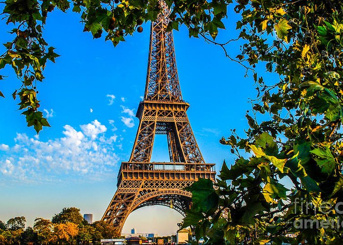 Paris Greeting Card featuring the photograph Eiffel In Green by Remi D Photography