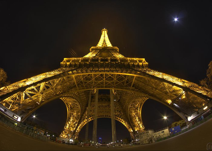 Eiffel Greeting Card featuring the photograph Eiffel Tower At Night by MGness