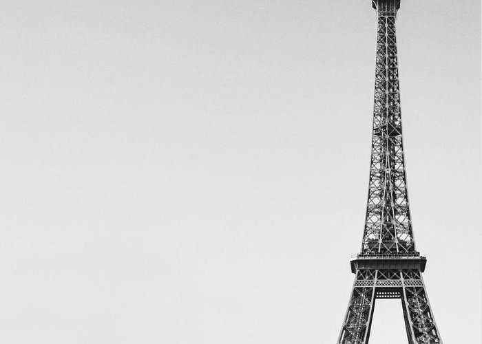 Arch Greeting Card featuring the photograph Eiffel Tower Black And White Image by Aleksandar Mijatovic