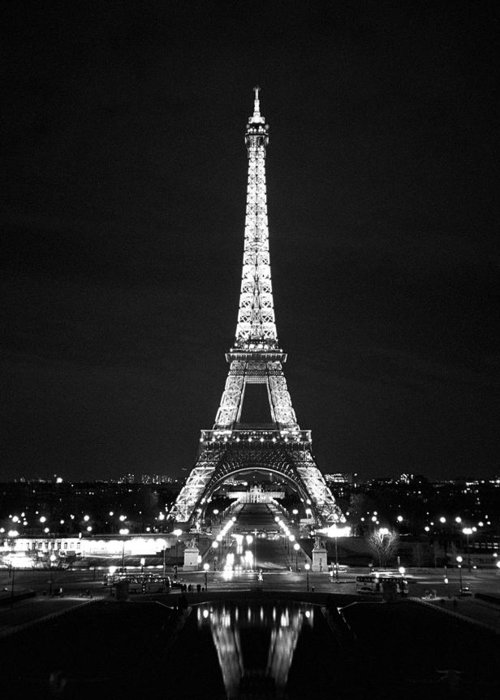 Eiffel Tower Images Black And White: Eiffel Tower In Black And White Greeting Card For Sale By