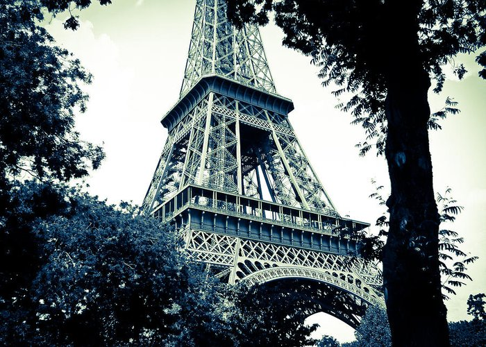Eiffel Tower Greeting Card featuring the photograph Eiffel Tower In Blue by Ronda Broatch