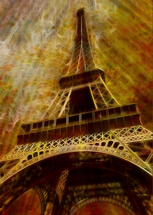 Eiffel Greeting Card featuring the painting Eiffel Tower by Jack Zulli