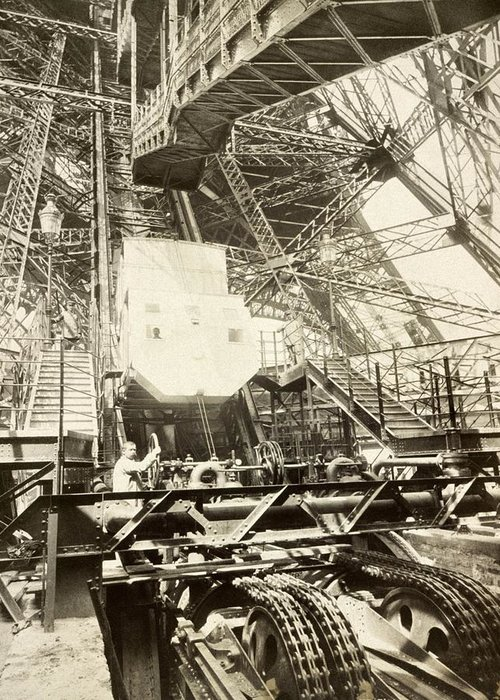 Human Greeting Card featuring the photograph Eiffel Tower Lift Machinery, 1889 by Science Photo Library