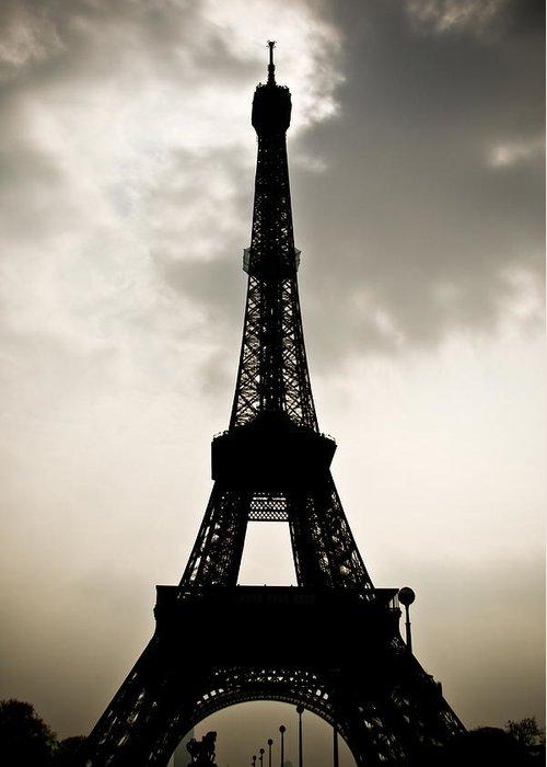 Eiffel Greeting Card featuring the photograph Eiffel Tower Silhouette by Nila Newsom