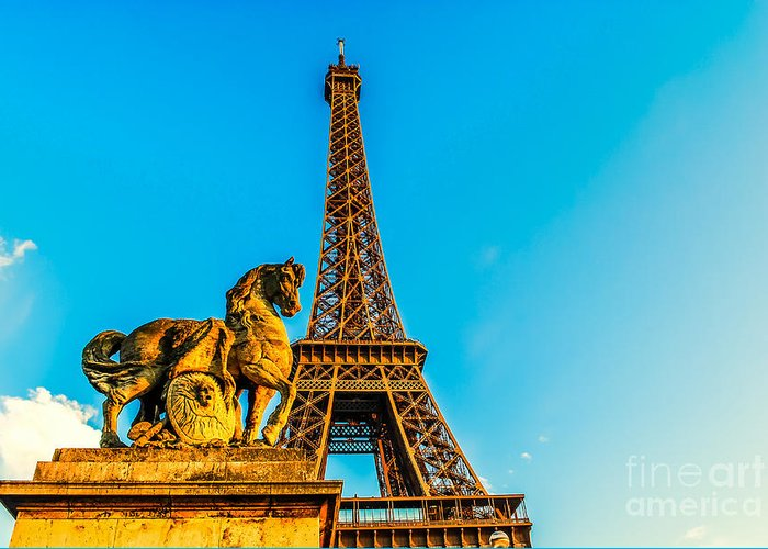 Paris Greeting Card featuring the photograph Eiffel Tower With Horse by Remi D Photography