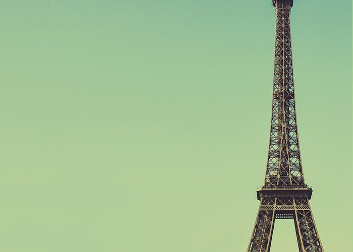 Arch Greeting Card featuring the photograph Eiffel Toweragainst Blue Sky by Aleksandar Mijatovic