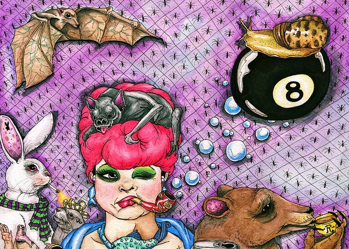 Eight Ball Greeting Card featuring the drawing Eight Ball by Julie McDoniel