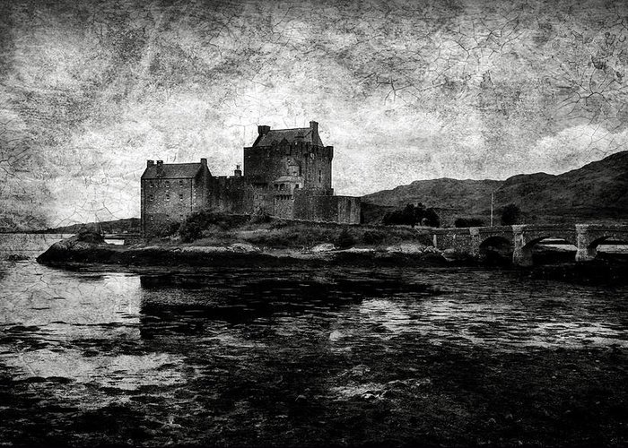 Eilean Greeting Card featuring the photograph Eilean Donan Castle In Scotland Bw by RicardMN Photography