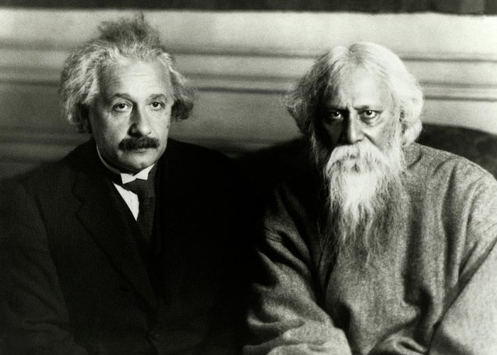 Adult Greeting Card featuring the photograph Einstein And Tagore by Emilio Segre Visual Archives/american Institute Of Physics