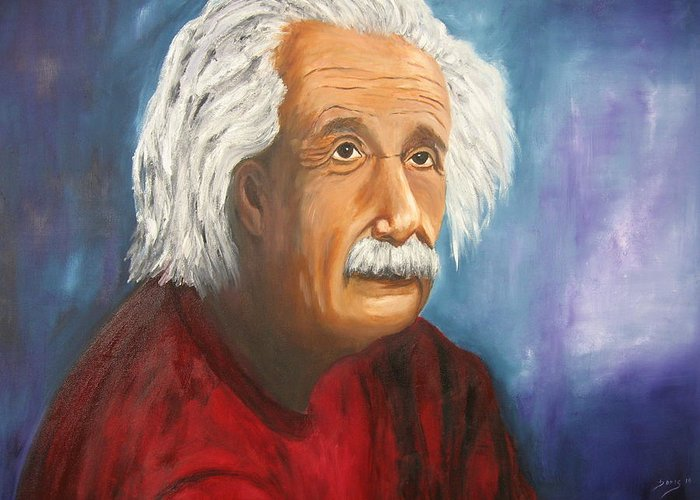 Doris Cohen Greeting Card featuring the painting Einstein by Doris Cohen
