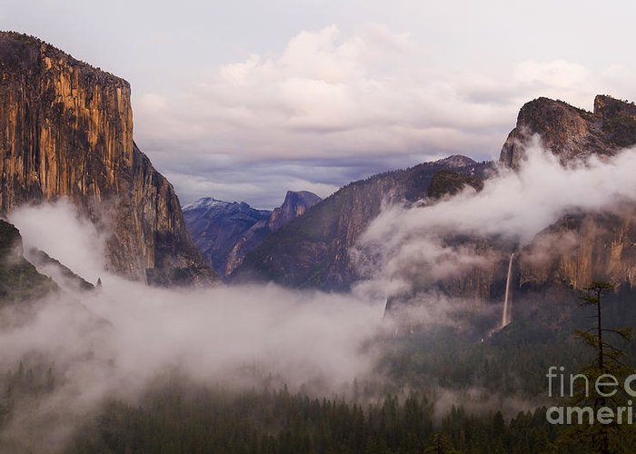 El Capitan Greeting Card featuring the photograph El Capitan Rises Over The Clouds by B Christopher