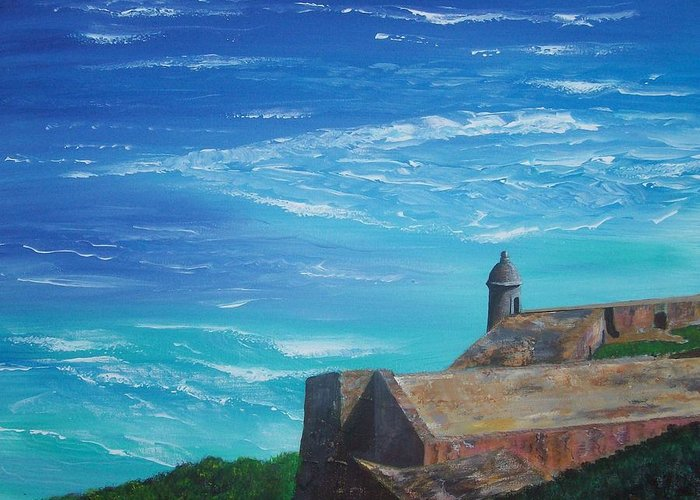 El Morro Ii Greeting Card featuring the painting El Morro II by Tony Rodriguez
