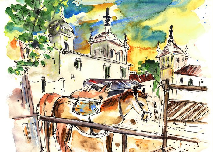 Travel Greeting Card featuring the painting El Rocio 02 by Miki De Goodaboom