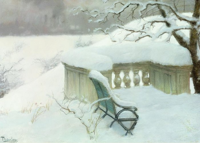 Winter Greeting Card featuring the painting Elbpark In Hamburg by Fritz Thaulow