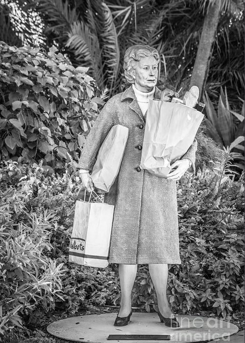 America Greeting Card featuring the photograph Elderly Shopper Statue Key West - Black And White by Ian Monk