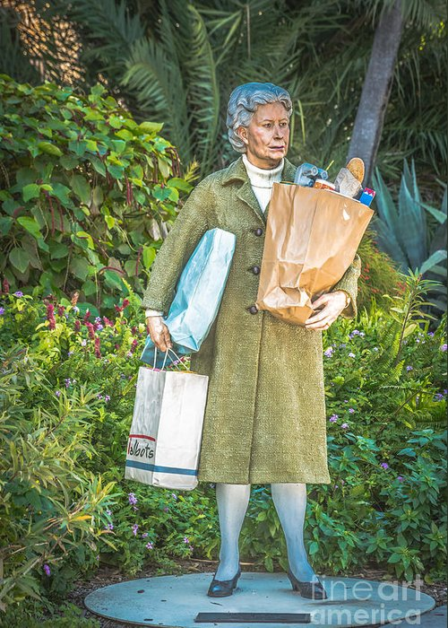America Greeting Card featuring the photograph Elderly Shopper Statue Key West - Hdr Style by Ian Monk
