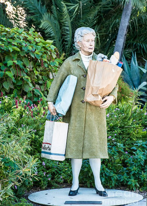 America Greeting Card featuring the photograph Elderly Shopper Statue Key West by Ian Monk