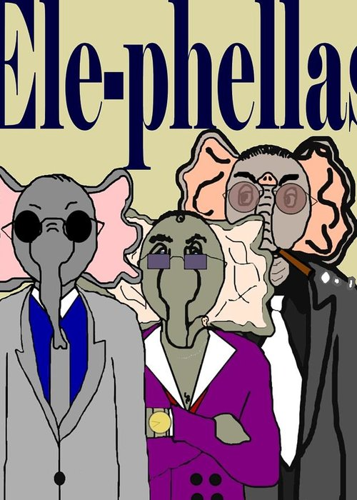 Elephants Greeting Card featuring the digital art Ele-phellas by Pharris Art