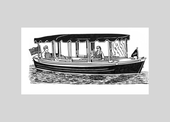 Ink Drawings By Jack Pumphrey Of Yacht Greeting Card featuring the drawing Electric Harbor Launch by Jack Pumphrey