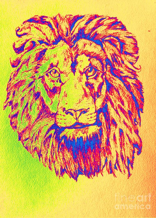 Colorful Lion Greeting Card featuring the painting Electric Lion by Lauren Pumphrey
