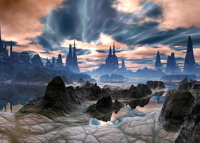 Electrical Storms Over Rock Towers On Alien World Digital Art By Spinning Angel