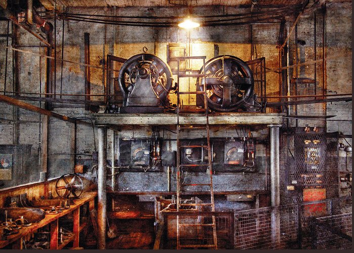 Savad Greeting Card featuring the photograph Electrician - Turbine Station by Mike Savad