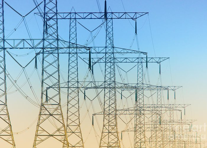 Electricity Greeting Card featuring the photograph Electricity Pylons Standing In A Row by Nick Biemans