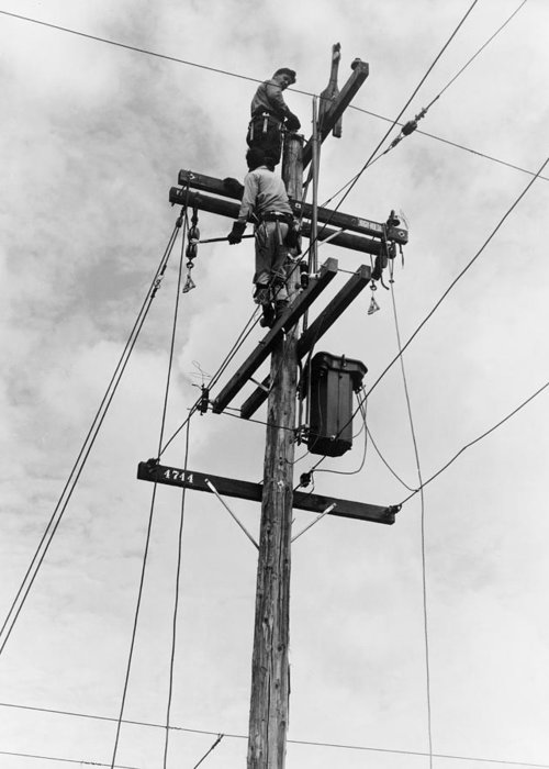 1938 Greeting Card featuring the photograph Electrification, 1938 by Granger