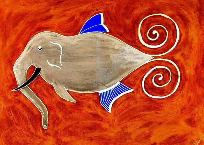 Elefant Greeting Card featuring the digital art Elefant by Rodemondo Rocca