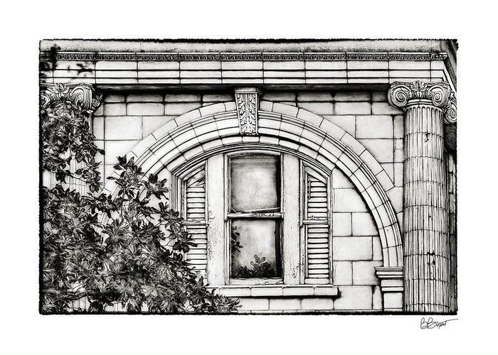 Window Greeting Card featuring the photograph Elegance In The French Quarter In Black And White by Brenda Bryant