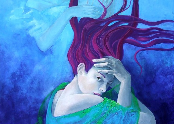 Fantasy Greeting Card featuring the painting Elegy by Dorina Costras