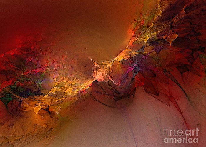 Abstract Greeting Card featuring the digital art Elemental Force-abstract Art by Karin Kuhlmann