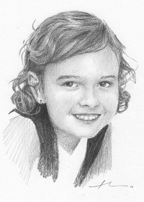 <a Href=http://miketheuer.com Target =_blank>www.miketheuer.com</a> Elementary School Girl Pencil Portrait Greeting Card featuring the drawing Elementary School Girl Pencil Portrait by Mike Theuer