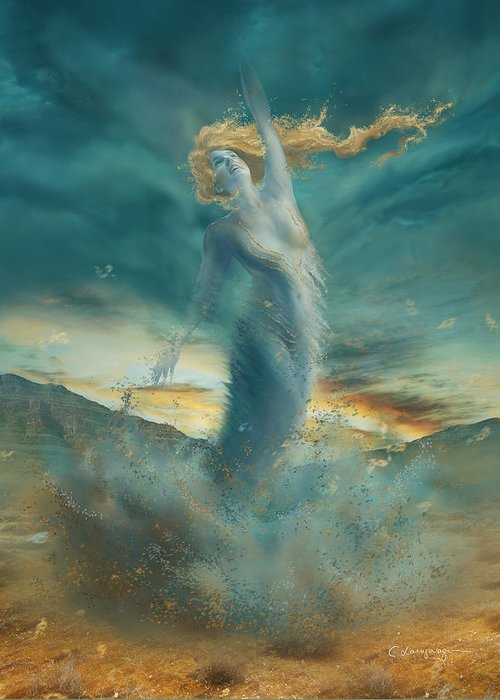 Fantasy Greeting Card featuring the digital art Elements - Wind by Cassiopeia Art