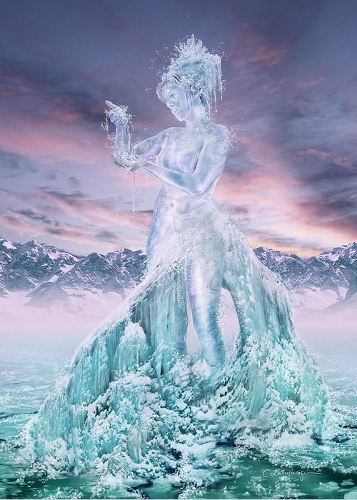Element Greeting Card featuring the digital art Elements - Water by Cassiopeia Art