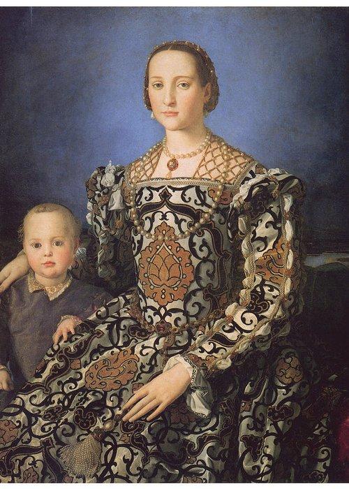 Agnolo Bronzino Greeting Card featuring the painting Eleonora Ad Toledo Grand Duchess Of Tuscany by Agnolo Bronzino