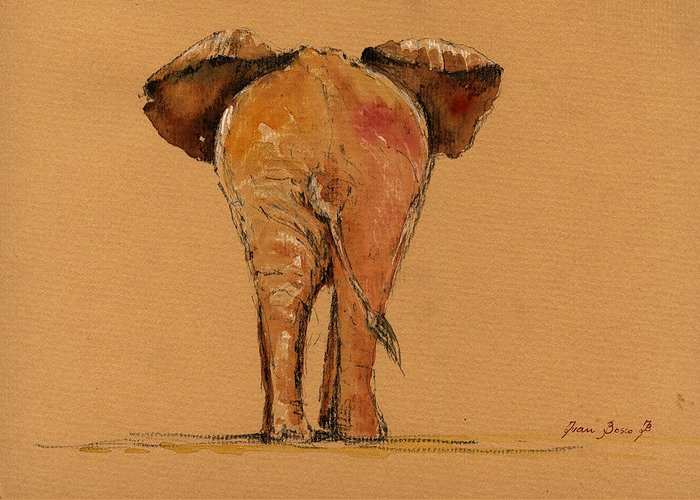 Elephant Wall Art Greeting Cards