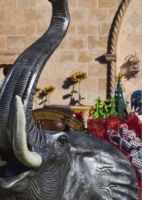 Roll Tide Greeting Card featuring the photograph Elephant Celebration by Kathy Clark