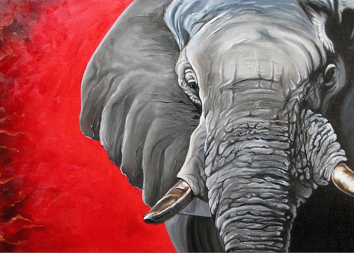 Wildlife Greeting Card featuring the painting Elephant by Ilse Kleyn