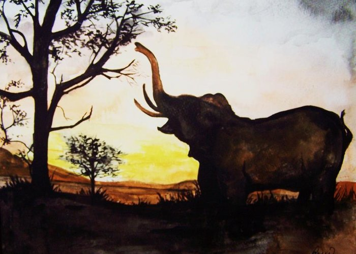 Elephant Greeting Card featuring the painting Elephant by Laneea Tolley